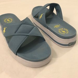 POLO Ralph Lauren Sz 9 Blue Slide Sandals